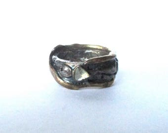 Vintage Rose Diamond Band With 14K Yellow Gold & Sterling Silver