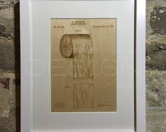Laser Etched Artwork – Toilet Roll Patent Drawing