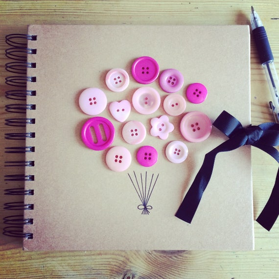 Bespoke Button Balloon Book (can be personalised) perfect photo album/guest book/scrapbook for a baby shower, birthday, hen do or wedding