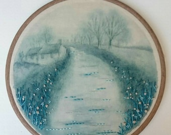 Down the Misty Lane - Hand Painted & Stitched Embroidery Hoop Artwork