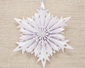 crystal snowflake Christmas ornaments - Christmas decor - Holiday Ornament set - snow flake ornaments - Austrian crystals - Holiday Decor