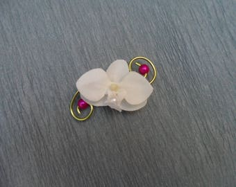 Lime and fuchsia - artificial white Orchid boutonniere