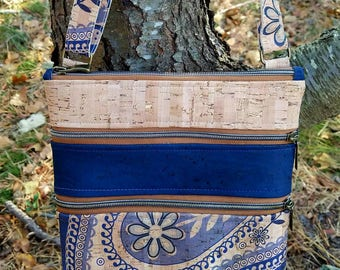 Cork Purse Paisley Blue  Natural Cork Zip Crossbody Vegan leather handbag, Brown Cork Zippered bag Petite purse