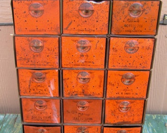 Vintage Dorman Products Green and Orange Metal Industrial Cabinet 15 Drawers Retro Metal Storage Cabinet Organization Bins Nut Bolt Cabinet