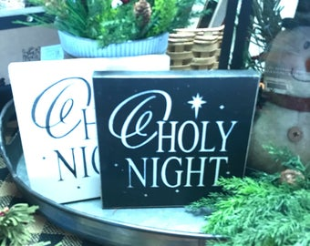 Small Square O Holy Night Sign | Handpainted Wood Sign