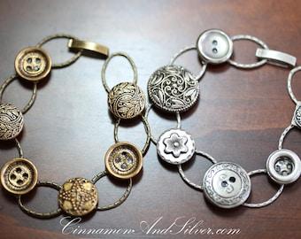 Silver and Gold Vintage Button Link Bracelets, Upcycled Silver Button Bracelet, Recycled Silver Button Bracelet, Silver Button Link Bracelet