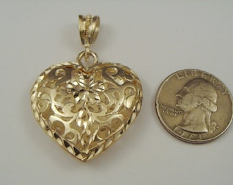 VINTAGE 925 STERLING Silver Puffy Heart Pendant Open Work Flower Design
