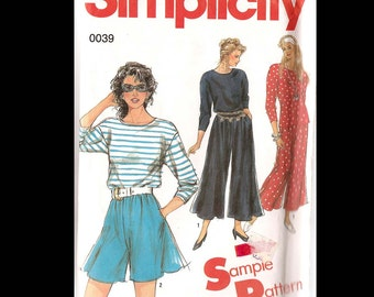 1991 Simplicity Misses Pullover Top and Culottes in Two Lengths Pattern 0039 - Vintage Sewing Pattern - UNCUT - Seven Sizes - Fashion DIY