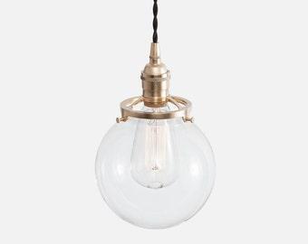 Glass Globe Pendant Light, Globe Pendant Lighting, Kitchen Light Fixture, Ceiling Lighting Fixture, Plug In Pendant Light Kit or Hardwire