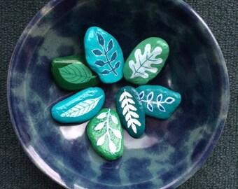 Leaf themed painted rocks, set of seven
