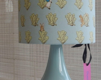 lampshade and base, made in Peter Rabbit fabric