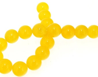 Charm 19Beads Round Yellow Jade 10mm Gemstone Beads 7.5""