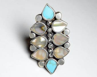 Vintage Sterling Silver Turquoise and Abalone Shell Inlaid Band Ring Size 6