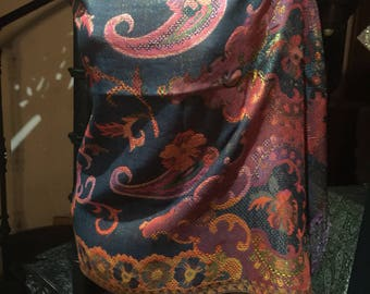 Golden Vintage Navy Blue Red Purple Paisley Brocade Pashmina Scarf Wrap