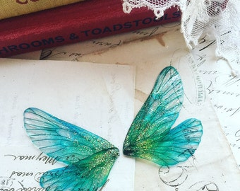 NEW pair of small Aqua blue rainbow faerie wings