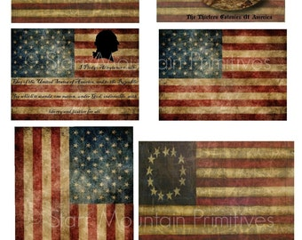 Primitive Americana American Flag Betsy Ross Flag Washington Jpeg Digital Pantry Labels Rag Tags, Hang tags Magnets Ornies Can Candles Crate