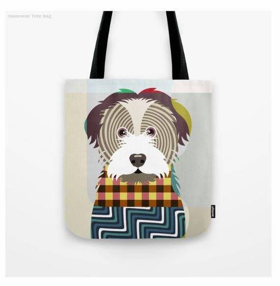 Havanese Tote, Havanese Bag, Havanese Gifts, Havanese Print, Dog Tote Bag, Dog Lover's Gift, Animal Lover Gift, Pet Tote Bag