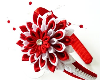 Kanzashi Fabric Flower headband.  Red and white.