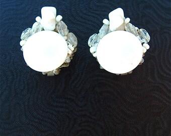 Miriam Haskell Ohrringe weiße Perlen Glas Brautschmuck unterzeichnet
