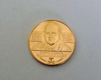 Desert Storm token medal. General H Norman Schwarzkopf.