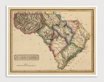 South Carolina Map, Antique Map Art Print, 1817, Archival Reproduction