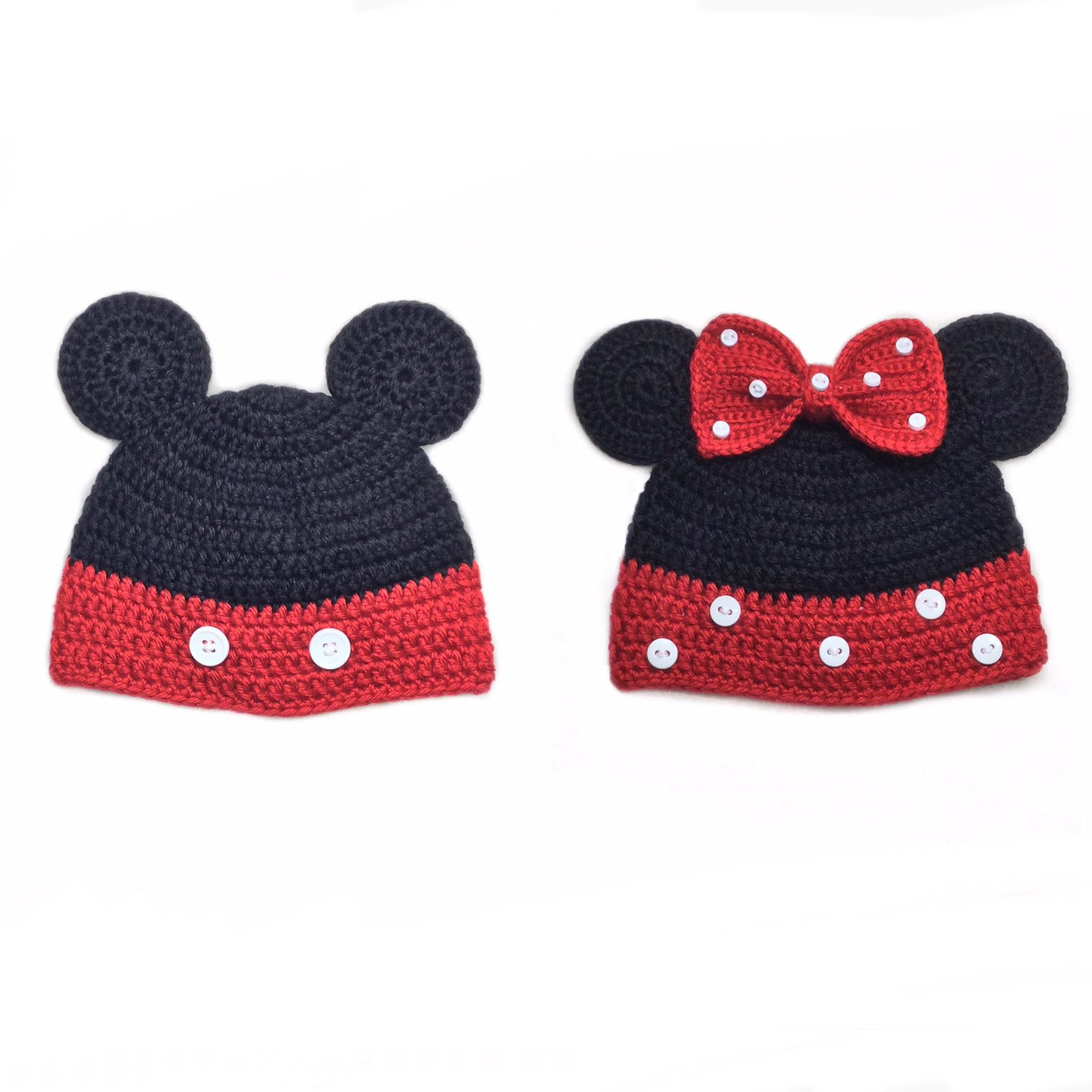 Mickey Mouse hat Crochet Mickey and Minnie Mouse hat Mickey
