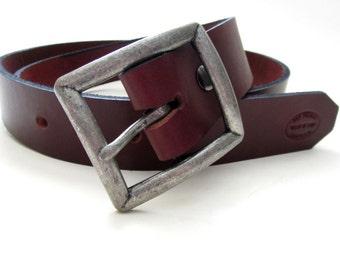 Mens Leather Belt, Oxblood Brown, SF Signature Belt, Custom Leather Belt, Wide Belt, Detachable Buckle, Gifts For Him