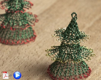 Christmas tree ornament PATTERN - Advanced Level wire crochet pattern - Christmas tree decorations - Christmas decorations - Holiday decor