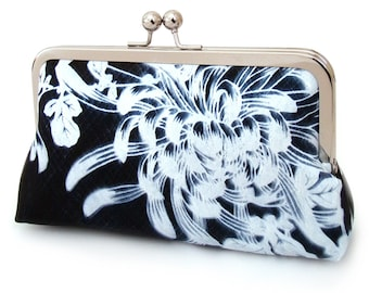Clutch bag, silk purse, blue and white, wedding bag, bridesmaid gift, NAVY CHRYSANTHEMUM