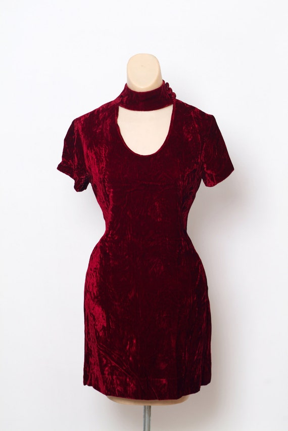 60s Velvet party Red 60s 1960 dress Mod Retro Velvet velvet Red Mod 1960s dress dress Cocktail 60s Party Dress Vintage dress 6EUw6qP