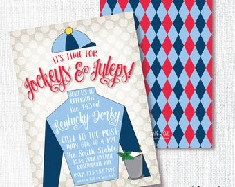 Jockey Derby Party Invitation, Printable, Horse Racing Party Invite, Mint Julep, Jockeys And Juleps, Navy, Red, Horse Birthday, Kentucky