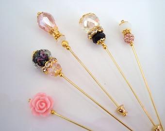 Pink Champagne Hijab Pins Set- Stick Pins / Hat Pins / Decorative Pins / Eid Gifts / Bridal Gifts / Crystal Hijab Pins / Pink Black Pins