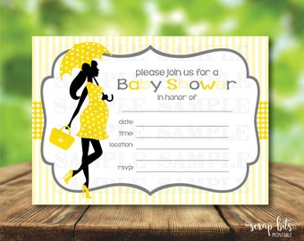 Pregnant Lady Baby Shower Invitation, Printable Baby Shower Invite, Baby Shower Invite, Fill-In Shower Invitation, Instant Download