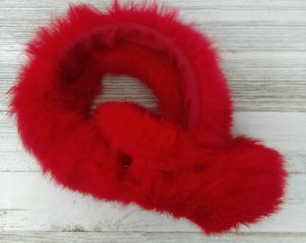 Vintage Red Rabbit Fur Earmuffs/ One Size Fits All/ 1960s