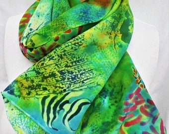 silk scarf hand painted Coral Reef beach wearable art women unique blue green pink orange