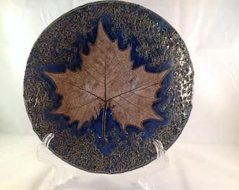 Shallow Bowl - Handmade with Leaf Imprint