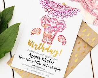 Fiesta birthday invitation editable printable invitation indian elephant birthday invitation custom birthday invite editable birthday invitation mandala birthday invite filmwisefo Gallery