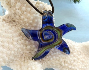 Murano look glass starfish pendant necklace_Mermaid necklaces_jewelry_beach jewelry