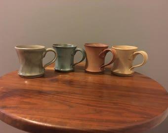 Wheel thrown stoneware mugs set of 4.