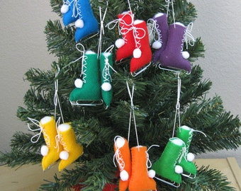 Ice Skates Christmas Ornaments Eco-Friendly Recycled Felt Set of 2 OlyTeam TeamEcoEtsy