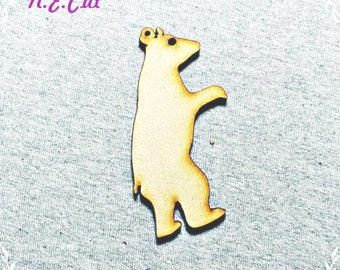 Pack of 6  Polar Bear  Decoration  75mm from 3mm MDF CTD219