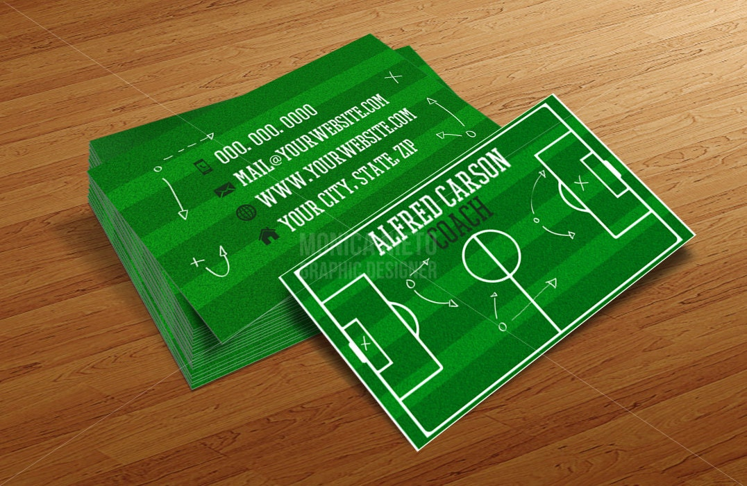 Custom Soccer Coach Business Cards Template/ Soccer Pitch