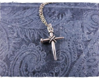 Silver Rope Nail Cross Necklace - Antique Pewter Rope Nail Cross Charm on a Delicate Silver Plated Cable Chain or Charm Only