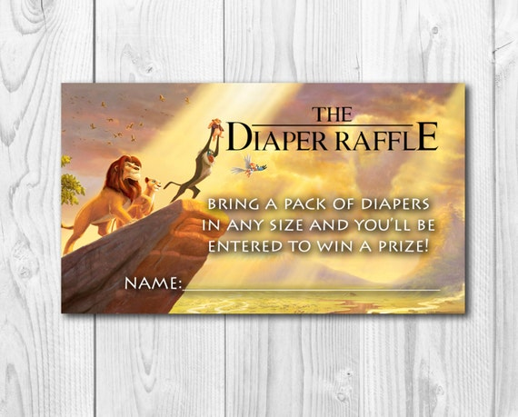 Lion king baby shower diaper raffle diaper raffle tickets like this item filmwisefo Choice Image