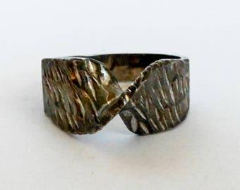 Vintage Brutalist Band  Sterling Silver   Size 6 1/2