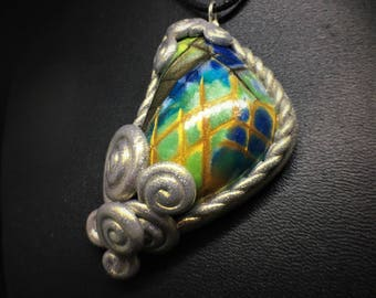 Abstract Hatched Gold Asymmetrical Swirl Necklace, Handmade Polymer Clay Necklace