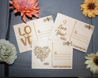 Valentine's Day Postcard // Laser Etched Post Card // Valentine's day Gift