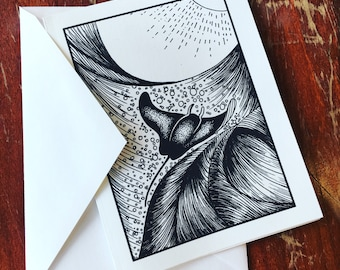 Manta ray ocean theme greeting cards black and white illustration a2