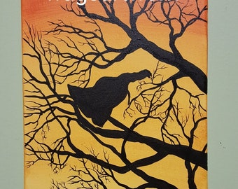 """Titled """"Thunder' This is an original acrylic painting on an 8x10 canvas. Wildlife painting. Turkey. Landscape. Silhouette."""