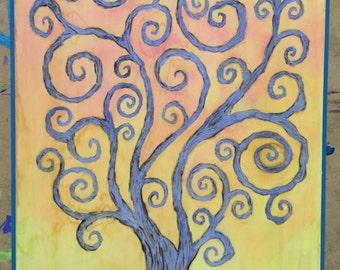Whimsical Tree wood burning